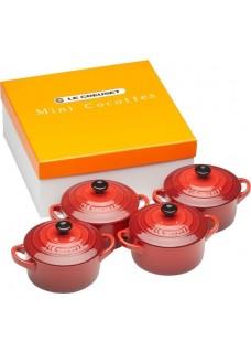 Set 4 mini cocottes, crvene